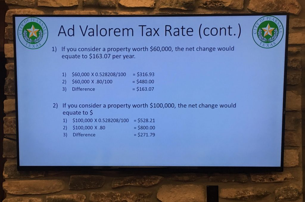 Visual aides at Pearsall's budget and tax meeting.