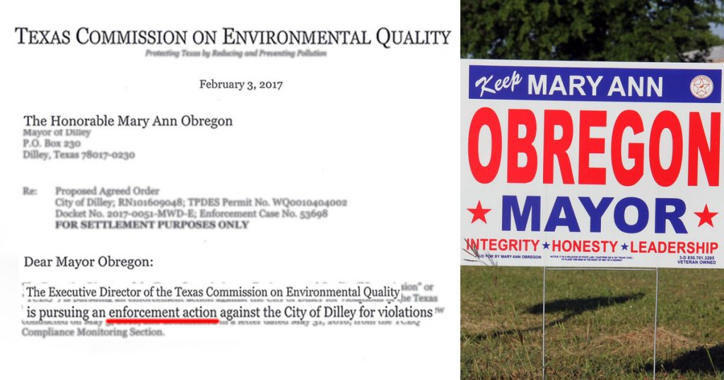 "Left: Enforcement Action letter from TCEQ against the City of Dilley. Right: Mayor Obregon's campaign signs read ""Integrity * Honesty * Leadership"""