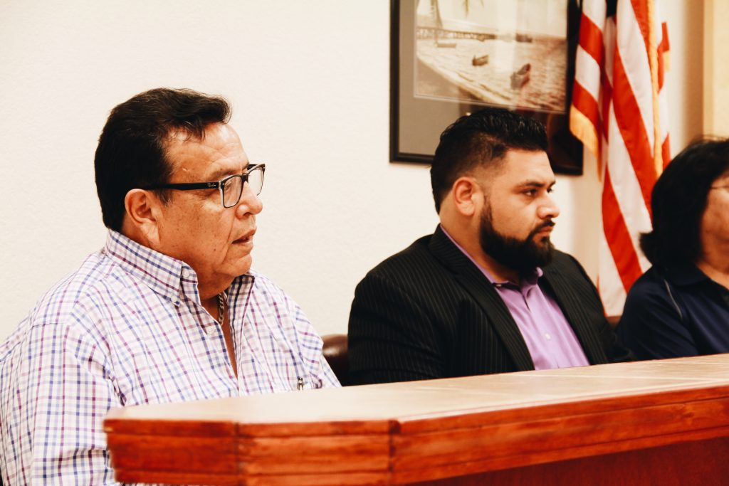 City Councilmen Sabino Mena and Gilbert Eguia participate in their first council meeting as elected officials.