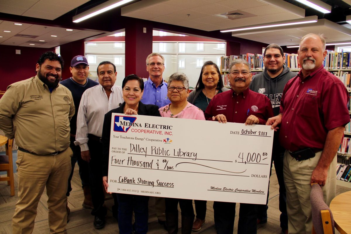 Dilley Public Library Receives $4,000 From Medina Electric and CoBank