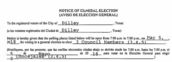The Final List of Candidates- 2018 Dilley City Council Election